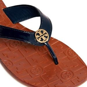 Tory Burch Shoes - Tory Burch Blue Thora Patent Leather Flip-flops 8M
